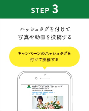 STEP3:キャンペーンのハッシュタグを付けて写真や動画を投稿する